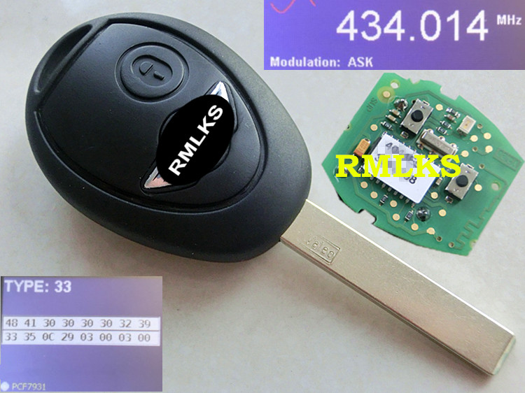 RMLKS télécommande porte-clés complet 433 MHZ avec électronique pour Mini Cooper R50 R53 systèmes d'alarme sécu adapté pour BMW Mini Rover 75