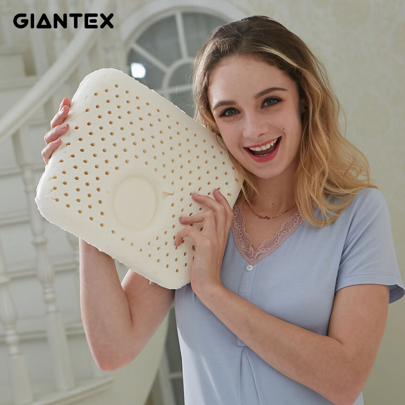 GIANTEX 30x25cm Natural Latex Pillow Sleeping Bedding Cervical Massage Pillow Health Neck Bonded Head Care Memory Pillow U1490