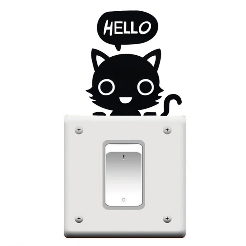 Funny Cute Cat Switch Stickers Wall Stickers Home Decoration Bedroom Parlor say HELLO cat sticker Decoration