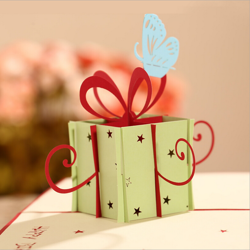 Happy Birthday Gift Box Butterfly Handmade Creative 3D Pop UP Greeting Cards Free Shipping Set Of 10