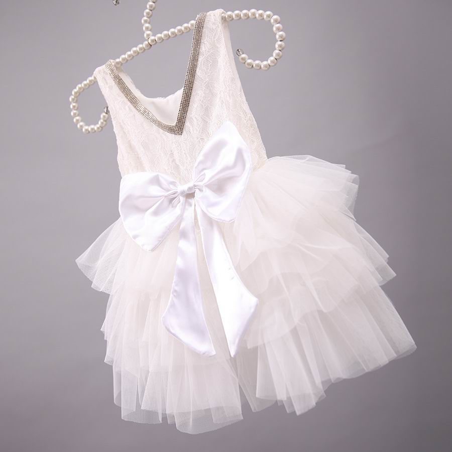 Girl Party Dresses Rhinestone Lace Big Bow Gauze TUTU Dress Girl Champagne  Tiered Dress Children Clothing 1567-in Dresses from Mother   Kids on ... cacb8e0579ae