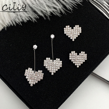 korean fashion Zircon crystal heart stud earrings for women Elegant luxury bridal wedding jewelry