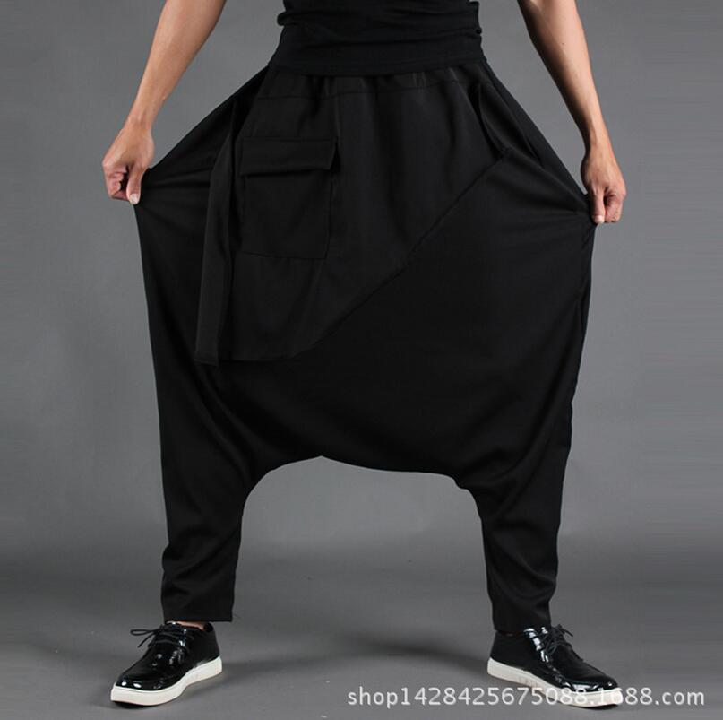 Spring and autumn large size hair stylist personality small feet loose low crotch men's elastic waist pocket black pants/M-XXL