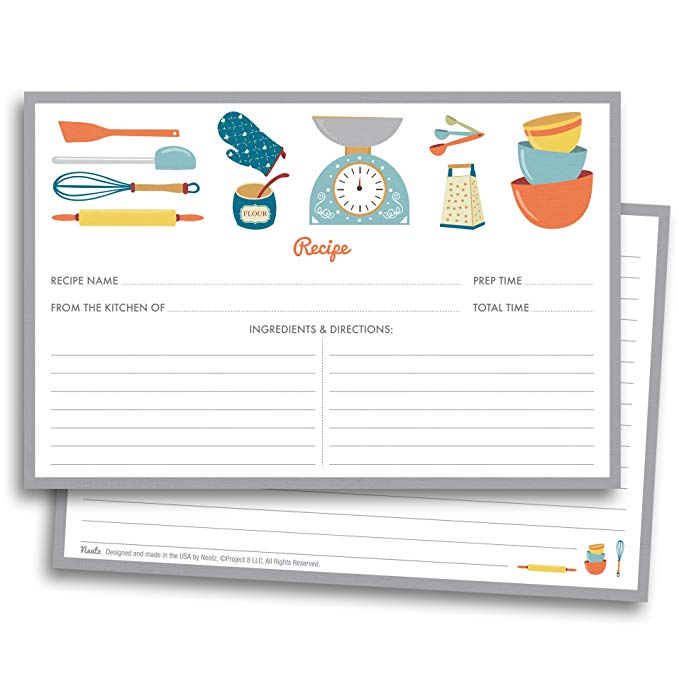 20sheet Kitchenware Recipe Cards Double Sided Cards 4x5.6 Inches Cardstock Paper Stationery For Home Kitchen Invitation Cards