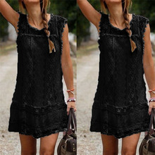 Summer Women Dress O-neck Casual Lace Sleeveless Beach Short Dress Tassel Mini Dress White Sexy Vestidos Female Plus Size