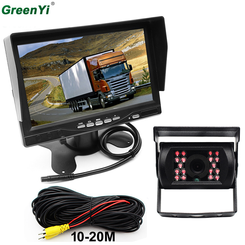 GreenYi DC 12V-24V 7 Inch TFT LCD Car Monitor IR Night Vision CCD Rear View Camera For Vehicle Truck Van Caravan Trailers Camper