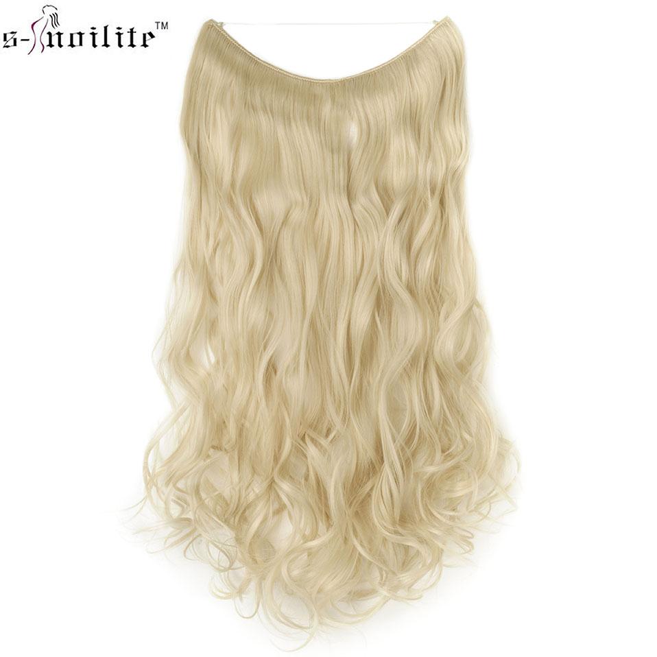 SNOILITE 20 pouces fil Invisible pas de Clips dans les Extensions de cheveux Secret ligne de poisson postiches longue droite naturel cheveux synthétique