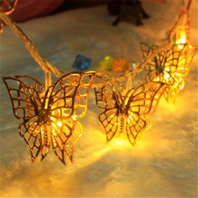 10m 2016 New Year String Light Large Gold Butterfly Led Lighting Christmas Wedding Party Decoration Lamps for Home,EU Plug H 39