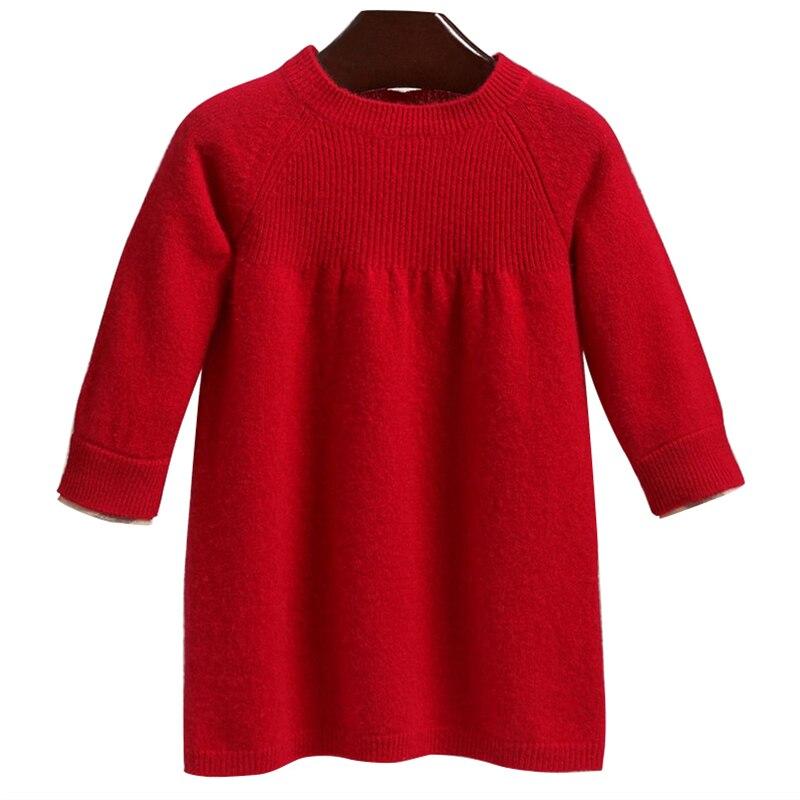 Girls' wool knit dress Children's red sweater dress heather knit dolphin hem tee dress
