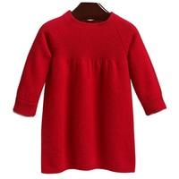 Girls' wool knit dress Children's red sweater dress