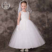 cf67d746 Nuevo verano Sarafan vestido de boda para la muchacha vestido de encaje  Tulle vestidos de gasa para las niñas blanco perla elega.