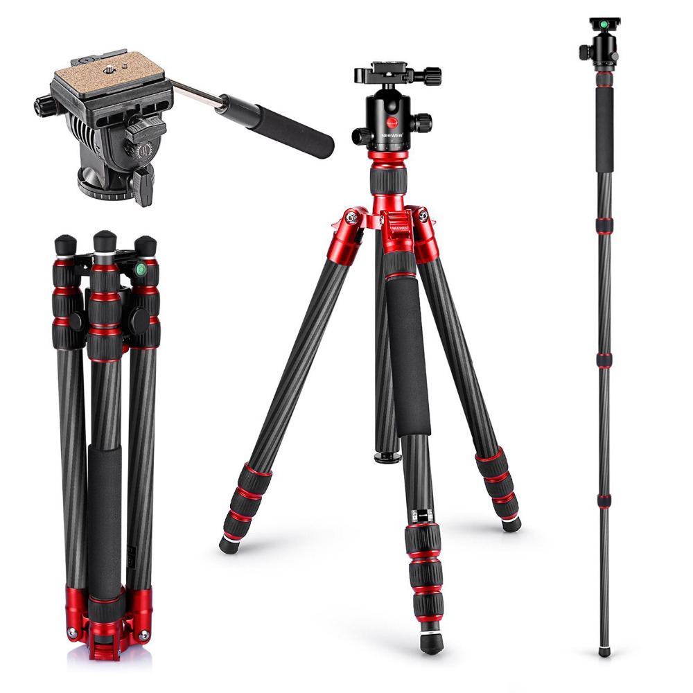 Neewer Carbon Fiber Tripod Monopod 67 inches/170 centimeters with 360Degree Ball Head,Fluid Video Head,1/4 inch Quick Shoe Plate
