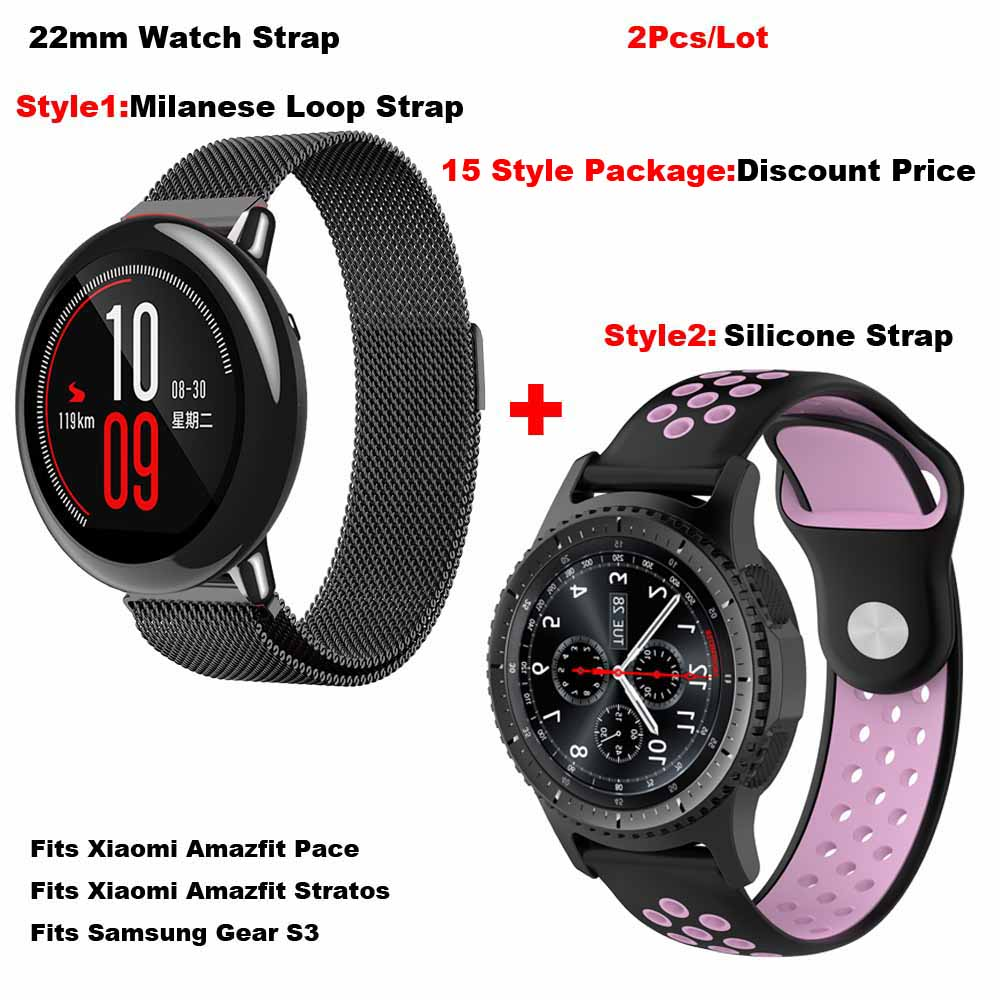 for Amazfit Smart Watch Band 22mm for Xiaomi Huami Amazfit Pace Stratos 2 Bracelet Metal Milanese Strap for Samsung Gear S3 Band