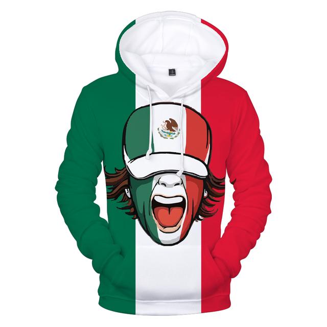 3D Hooded Print Mexico National Flag Sweatshirt Hoodies Men/women Harajuku 3D Mexico National Flag High Quality Men's Hoodies