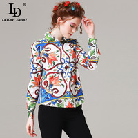 High Quality Autumn Women Clothing Fashion Designer Blouse Long Sleeve Floral Print Casual Shirt Top
