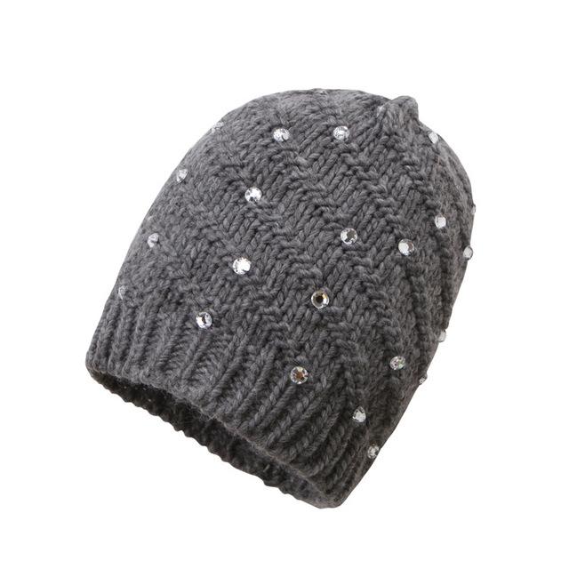 Invierno Nueva Moda Casual Cálido Westorn Popular Diamante de Punto Sombrero Femenino del Hilado de Islandia