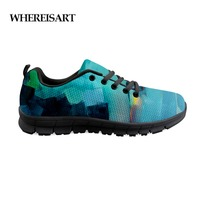 WHEREISART 2019 New Arrival Men's Shoes Blue Village Painting Sneakers Mens Casual Fashion Air Mesh Shoes Male Custom Shoes