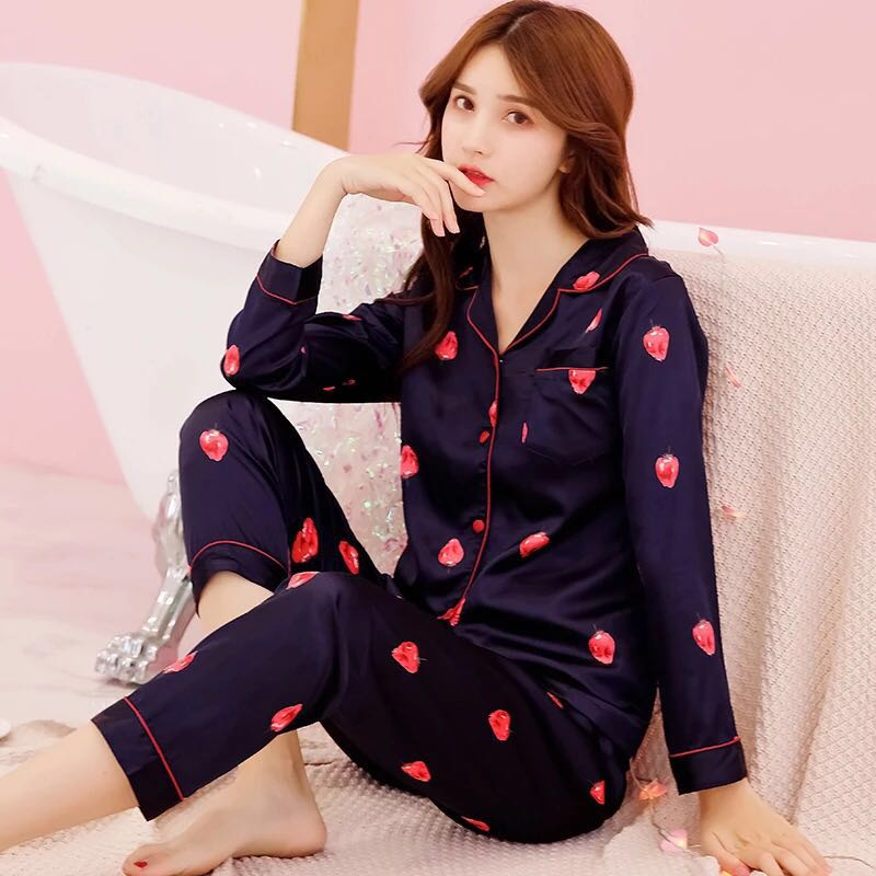 Elegant Luxury Women Comfortable Silk   Pajama     Set   Girl Print Pyjama   Set   Long Sleeve Sleepwear Suit Women Nightgown   Sets
