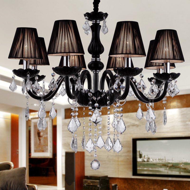 Black Crystal Chandelier For Home Lighting Lustre De