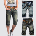 2017 старинные джинсы мужские тонкий шорты летом Отбортовки сращены прямые Бык-штамповщика трусики
