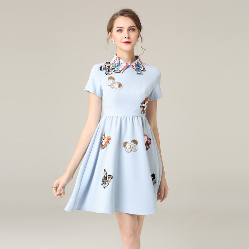 Elegant Embroidery Embellishment Ball Gown Traditional: European Fashion Women's Dress Short Sleeve Casual Knee