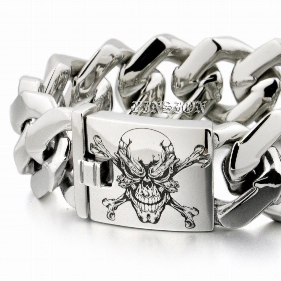 LINSION Huge Heavy Deep Laser Engraved Pirate Skull 316L Stainless Steel Mens Boys Biker Rock Punk Bracelet 5F103 9 Lengths engraving service 316l stainless steel deep engraved skull cross mens biker rocker punk bangle cuff 5j122