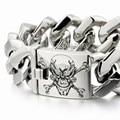 LINSION Huge Heavy Deep Laser Engraved Pirate Skull 316L Stainless Steel Mens Boys Biker Rock Punk Bracelet 5F103 9 Lengths
