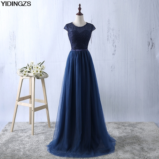 YIDINGZS Green Evening Dress 2017 New Arrive Lace Tulle A-line Formal Longo Robe De Soiree Party Dress