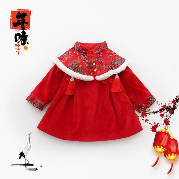 Winter childrens clothes, baby and girls national style embroidery and velvet dressWinter childrens clothes, baby and girls national style embroidery and velvet dress
