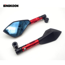 CNC Aluminum Motorcycle Rearview Mirrors Blue Glass Side Mirror FOR piaggio mp3 Honda cb650f pcx 125 mv agusta f800r
