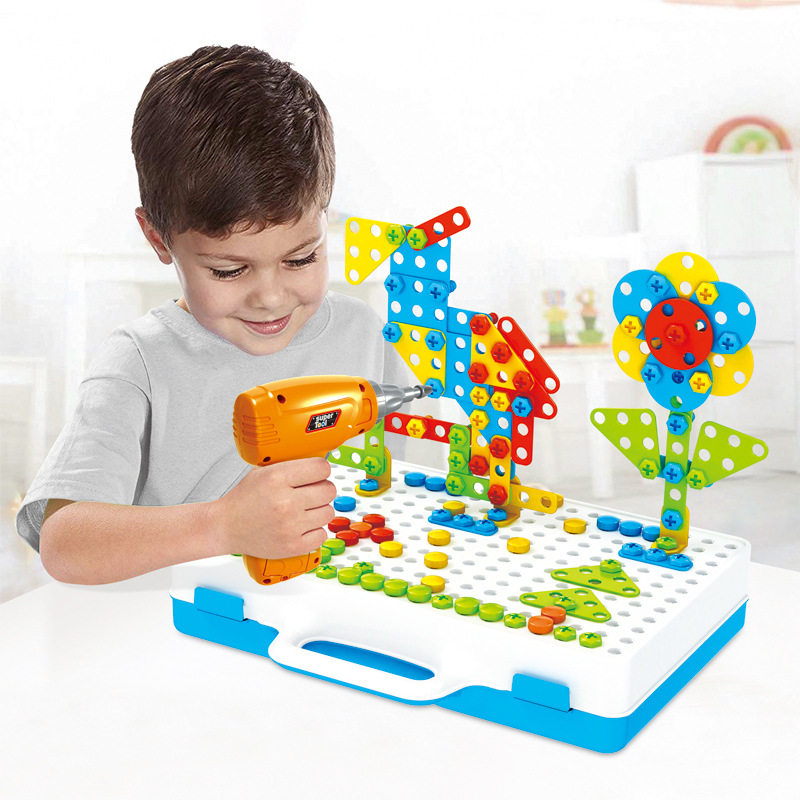 Building Blocks Electric Drill Toy For Kids Early Educational Toy Assembled Mosaic Puzzleed Games Pretend Play Toy Children Gift
