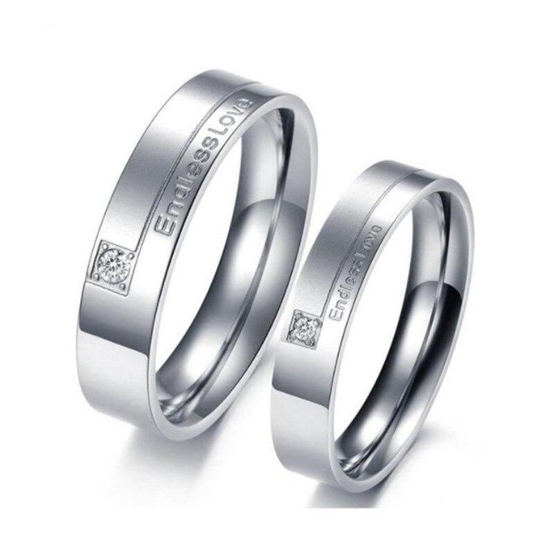 Бесконечная любовь Нержавеющаясталь обручальное кольцо пары Обручение Promise Ring