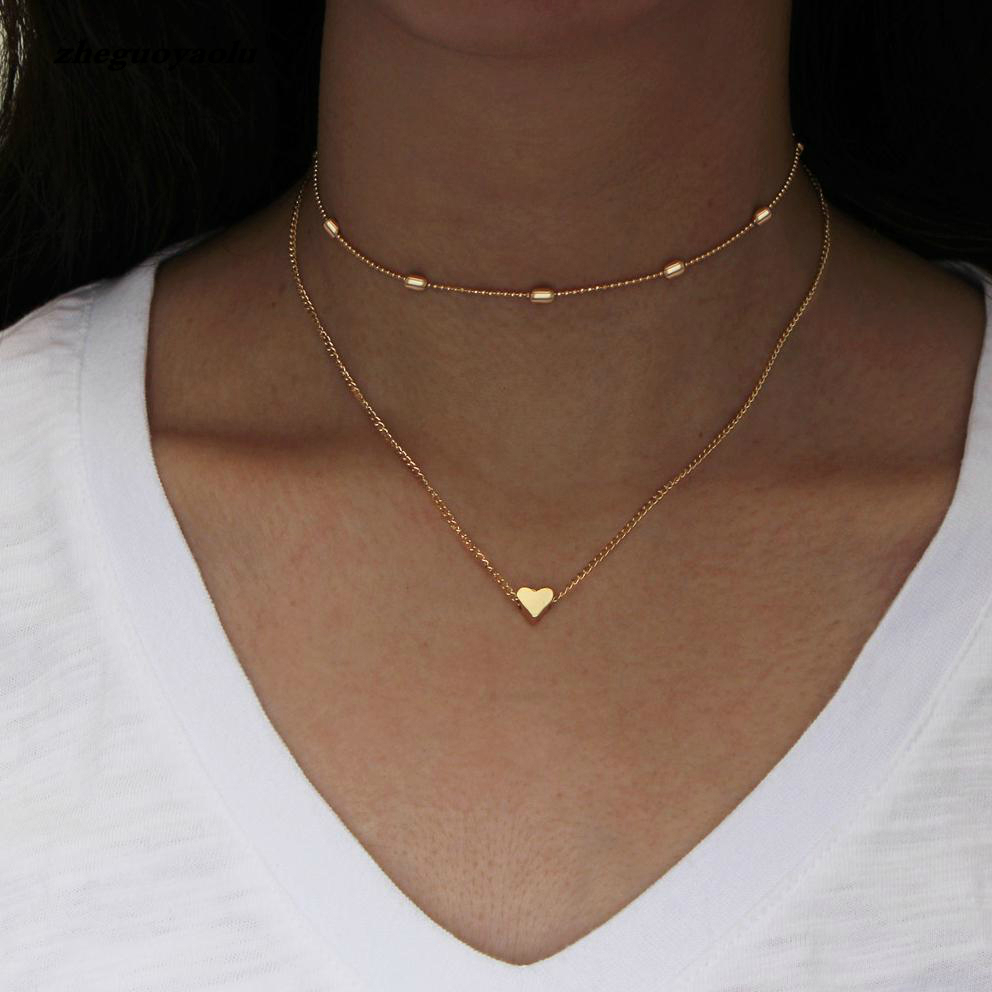Simple Golden Love Heart Necklace For Women Multi Layer