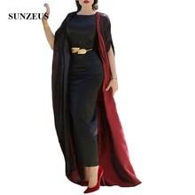 Black Satin Ankle Length Mother of the Bride Dresses with Jacket 2 Piece Elegant Formal Dress Caftan Party Long SMD16