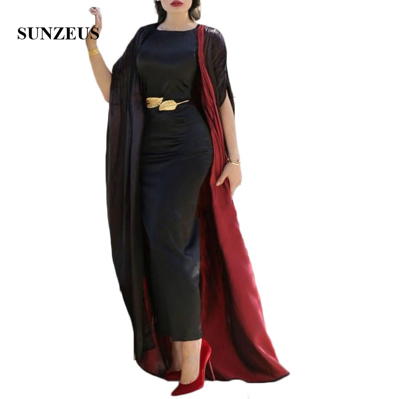Black Satin Ankle Length Mother of the Bride Dresses with Jacket 2 Piece Elegant Formal Dress with Caftan Party Dress Long SMD16