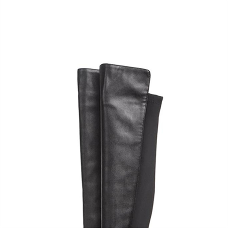 Véritable Le 5cm Med 3 5 Épais Masgulahe Cuir 3 Genou 1 black Chaussures Femme Tissu 5cm 2 Automne 5cm Glissent Black Sur Stretch Bout En black Talons Rond Bottes wvfY6