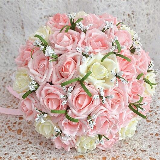 2017 Люкс Для Невесты Свадебный Букет Дешевые Новый Розовый и Цвета Слоновой Кости Ручной Работы Искусственный Цветок Розы Свадебные Букеты, Свадебные Букеты