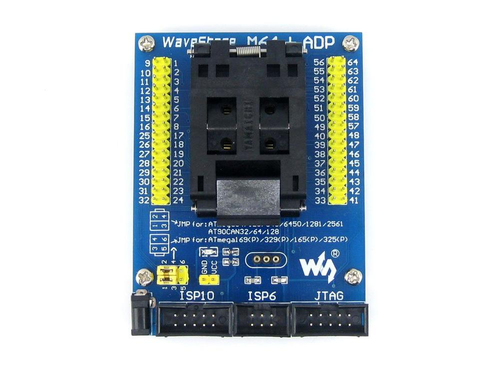 Parts M64+ ADP AVR Programming Adapter IC Test Socket for ATmega64 ATmega128 TQFP64 Free Shipping m48 adp atmega48 atmega88 atmega168 tqfp32 avr programming adapter test socket