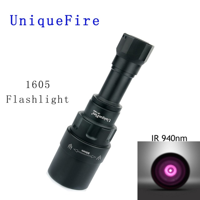 UniqueFire 1605 IR 940NM LED Flashlight 50mm Lens Adjustable Infrared Light Night Vision Torch 3 Modes Rechargeable For Hunting
