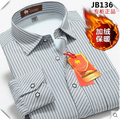 Men Warm Shirts Autumn Winter Plus Velvet Thickening Business Stripe Cotton Shirt S M L XL XXL 3XL 4XL