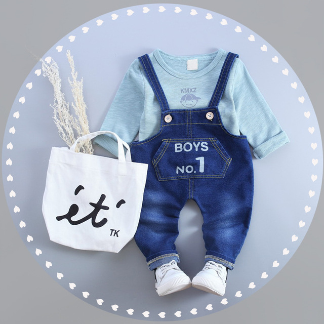 Baby Born Hot Sale O-neck Children 's Clothing Spring And Autumn Set 2016 New Baby Jeans Two Piece Suit Free Shipping