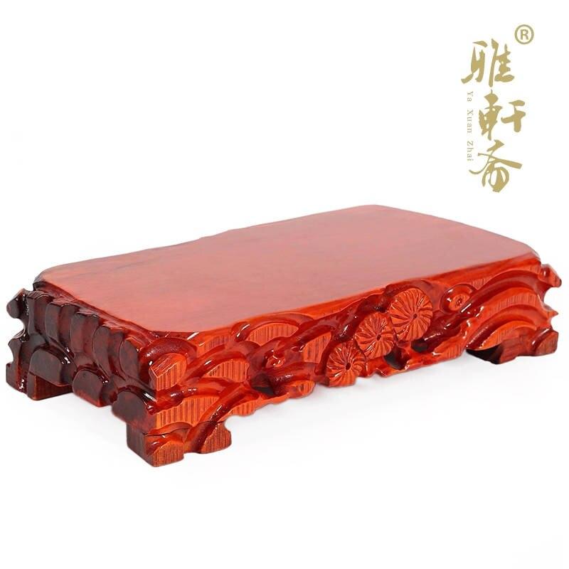 Красное дерево камень ваза цветочный горшок нефрита дерево украшения база большой прямоугольник дерева