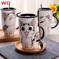 Cute Cat Style Ceramic Mugs 600ml With Lid And Spoon CartoonCups Creative Moring Mug Milk Coffee
