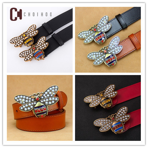 2018High quality design lady bee buckle   belt  , the famous designer Gg double   belt   brand, fashion leather women H   belt   154