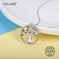 Collare 100% 925 Sterling Silver Tree Of Life Pendant Valentine's Day Gift Girl's Dainty Jewelry Family Tree Necklace Women P625