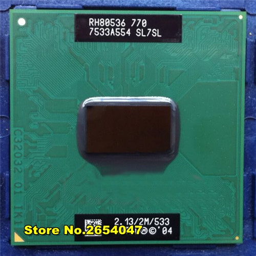 Free Shipping CPU laptop Pentium M 770 CPU 2M Cache/2.13GHz/533/Dual-Core Socket 479Laptop processor PM770 support 915 1 4. intel p6200 slbua 2 13 2m pga bloomfield dual core cpu black mirror silver