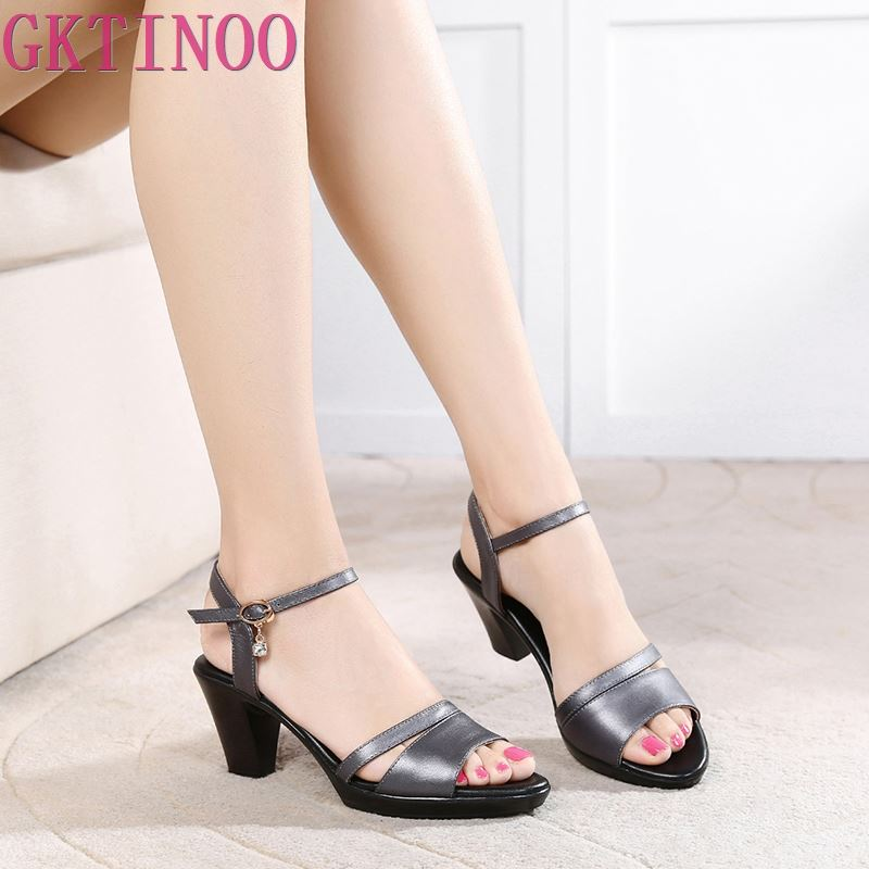GKTINOO New Open Toe Cowhide Leather Sandals Women Shoes High Heel Sandals Fashion Casual Shoes Women Sandals Plus Size