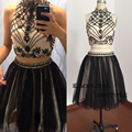 Actual Image Homecoming Dresses Short/Mini Tulle Lace High Neck Crystal Beading Black Graduation Dress 2017 Cocktail Dresses