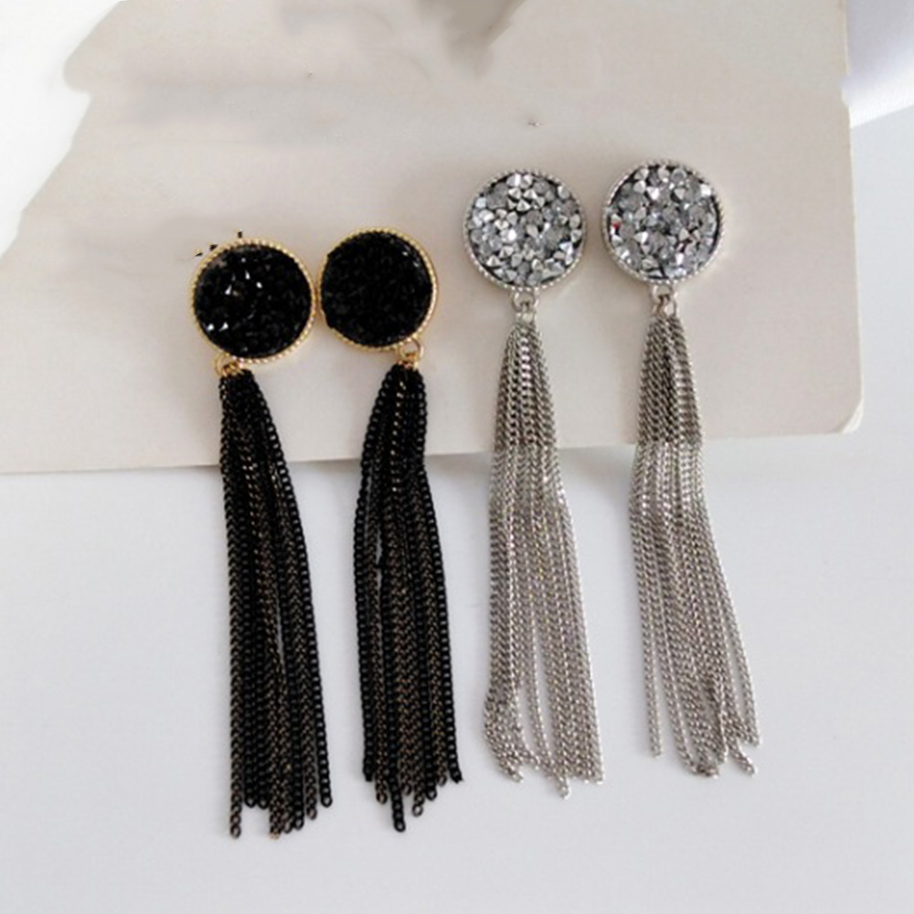 Chadestinty Black Earrings Jewelry Ear-Cuff Piercing Long-Chain No-Hole Tassel Round title=