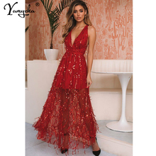 Sexy Red sequins maxi summer dress women bandage bodycon beach party Long dress elegant Backless Night club dresses vestidos New цена и фото